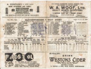 Scorecard of Gloucesterchire vs. West Indies 1950