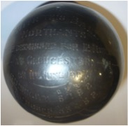 Metal Covered Cricket ball with engravings